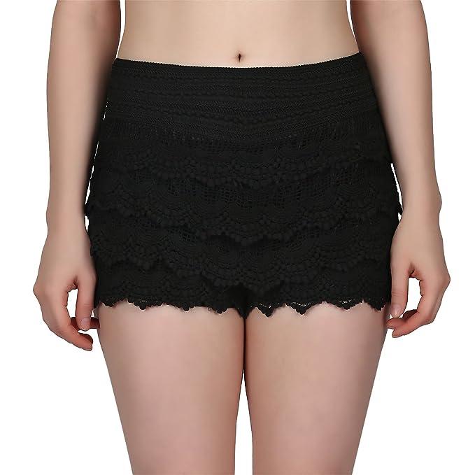 Hde Womens Lace Shorts Fitted Scallop Hem Crochet Mini Hot Pants