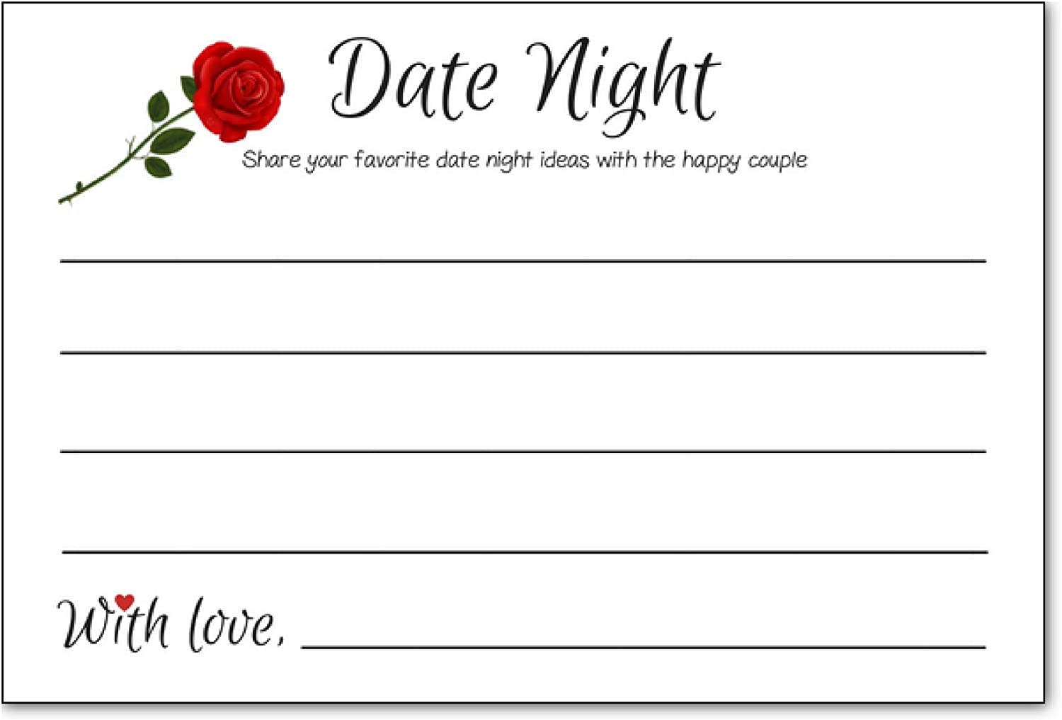 Date Night Ideas Cards For Married Couples Bridal Shower Ideas Wedding Reception Activities Rehearsal Dinner Bride And Groom Bachelorette Engagement Party Games Fun Date Night Ideas Jar 50 Pack Amazon Ca Office Products