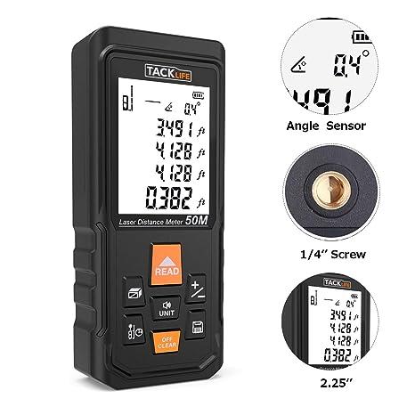 "PRO Laser Measure 165Ft with Electronic Angle Sensor, Tripod Screw Hole, 2.25"" Larger"