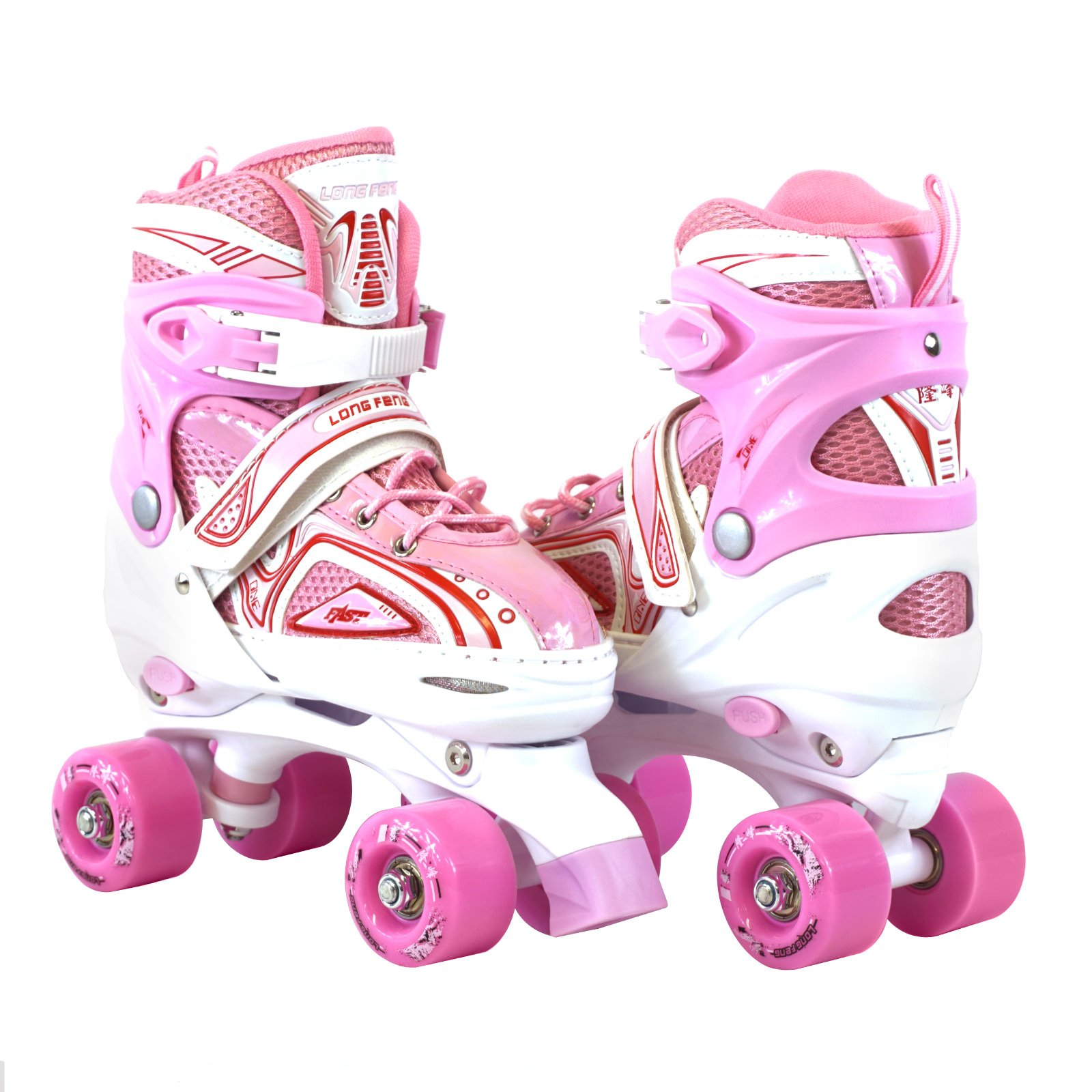 Adjustable Pink Quad Roller Skates For Kids Comfortable Indoor Or Outdoor Use Medium Size by Long Feng