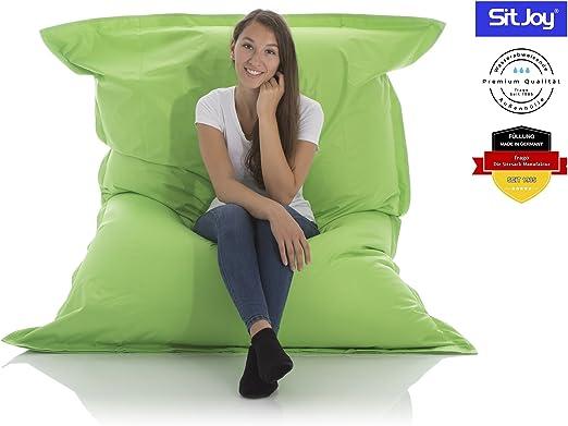 Sitjoy Fashion Sitzsack | 140x180 cm | Outdoor & Indoor | 390 Liter Füllung (Grün ohne Ringe | EPS Styropor Micro Perlen)