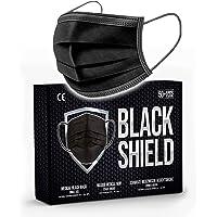 BLACK SHIELD - 50 unidades - Mascarilla Quirúrgica Tipo I Negra - Certificación CE - 3 capas - Filtración BFE > 95%.