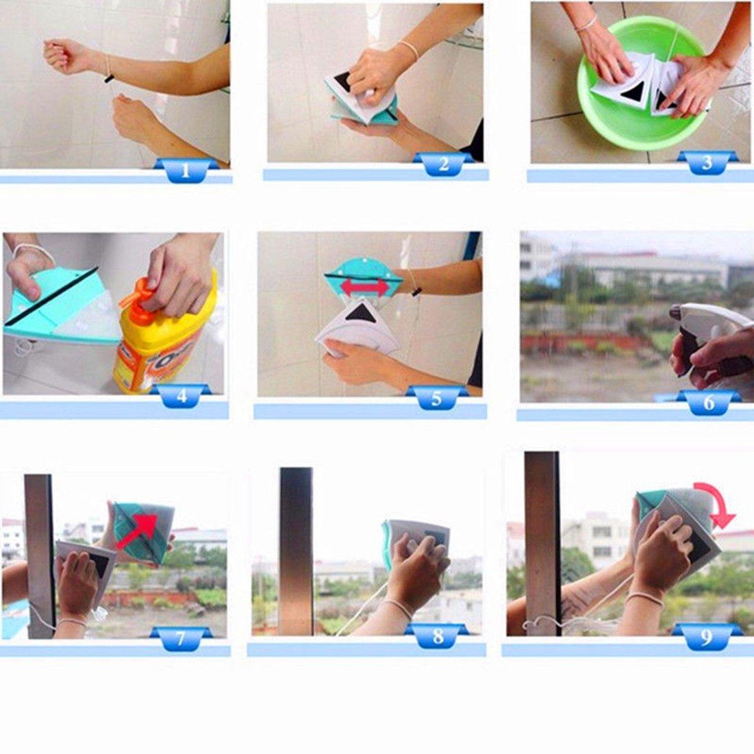 rurah magnético doble cara ventana limpiaparabrisas limpiador de cristal azul para 3 - 8 mm: Amazon.es: Salud y cuidado personal