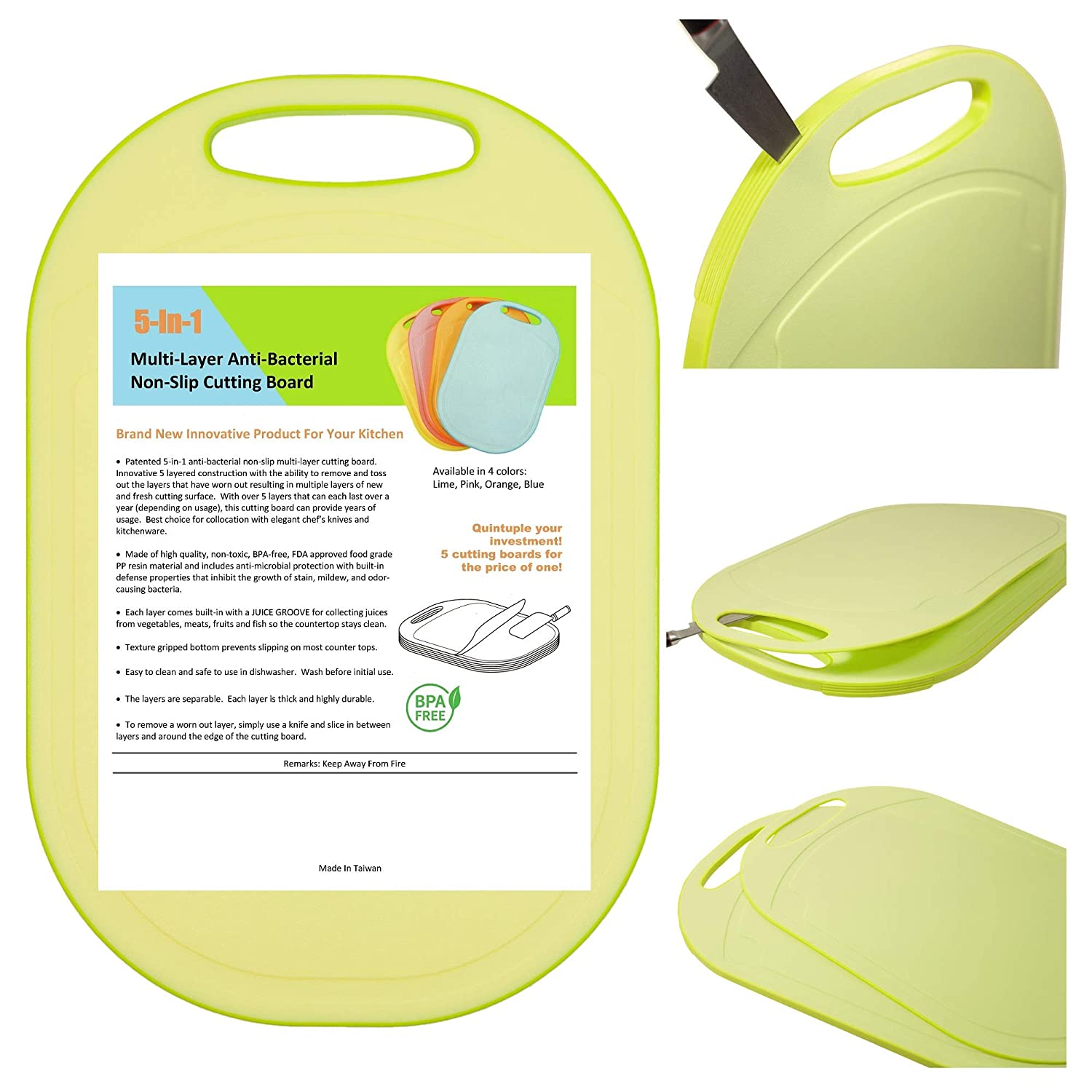 5 In 1 Multi-Layer Anti-Bacterial Non-Slip Cutting Board (Lime), Innovative 5 layered construction, 5 Kitchen Chopping Boards for Price of 1, BPA Free, Dishwasher Safe, Juice Grooves, Easy Grip Handle