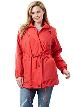582c0a15f29 Woman Within Plus Size Women s Plus Size Fleece-Lined Taslon Anorak ...