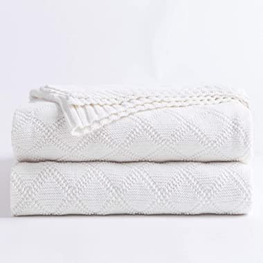 """100% Cotton White Cable Knit Throw Blanket for Couch with Bonus Laundering Bag – Large 50 x 60"""" Thick, Extra Cozy, Machine Washable, Comfortable Home Decor"""