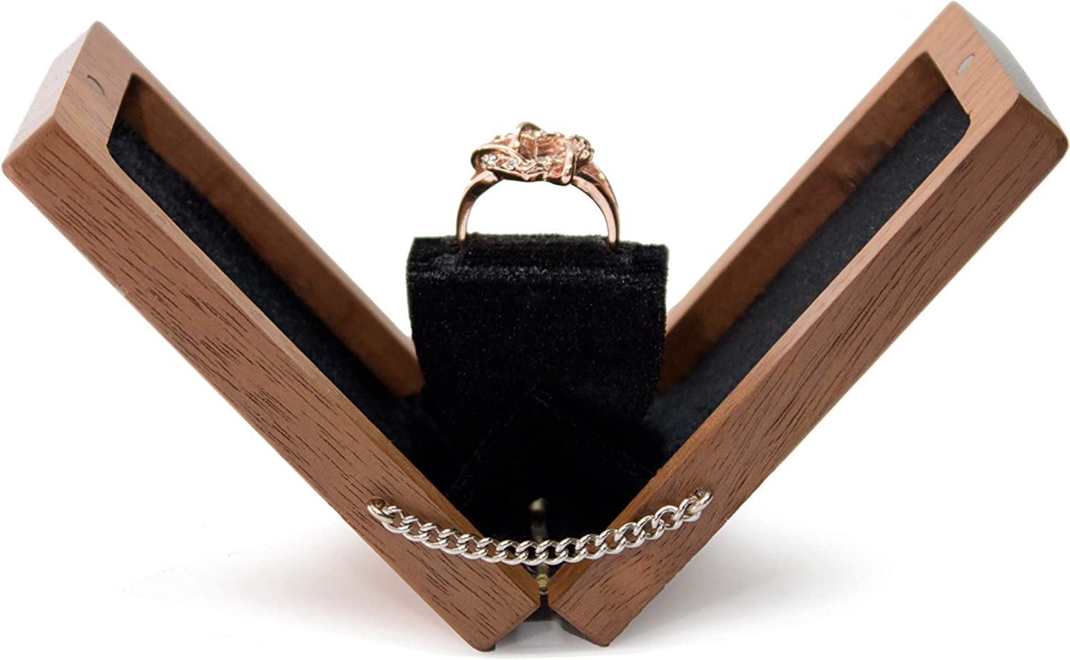 Proposal ring box Ring box Rounded edges Slimline  Oak Engament ring box fits easily into a pocket wedding ring box 82
