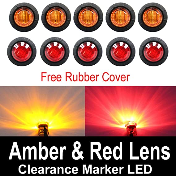 img buy 10 Pcs TMH 3/4 Inch Mount 5 pcs Amber & 5 pcs RED LED Clearance Markers Bullet Marker lights, side marker lights, led marker lights, led side marker lights, led trailer marker lights