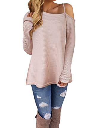 7bfea321345 Image Unavailable. Image not available for. Color: Kilig Women's Long  Sleeve Cold Shoulder Knitted Sweater Split ...