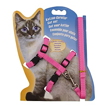 Rella Home Adjustable Cat Harness Pink and Leash Halter Nylon Strap Belt Safety Rope Leads