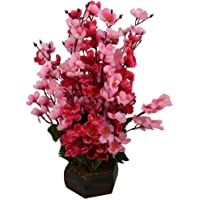Sk Handloom Udyog Bonsai Blossom Artificial Flowers with Wooden Pot Home Decorative and Garden Decor (Red and Pink)