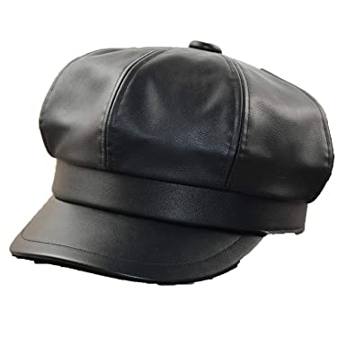 885ec9df8ae Big Head Man Plus Size PU Octagonal Hat Leather Beret Casual Painter Cap  Male Fitted Newsboy Cap at Amazon Men s Clothing store