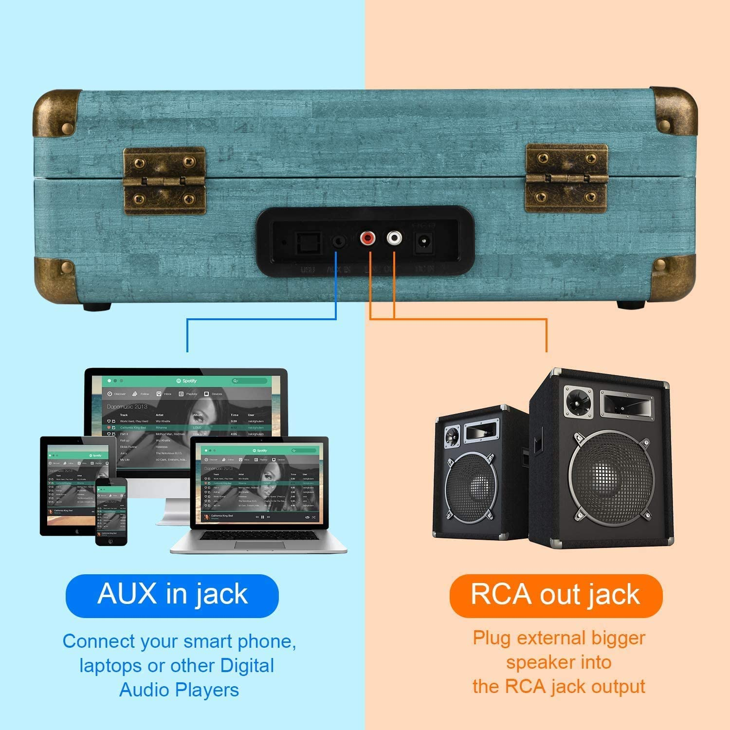 RCA Output Aux Input and Headphone Jack Digitnow Vinyl Record Player 3-Speed Bluetooth Suitcase Turntable with Stereo Speakers