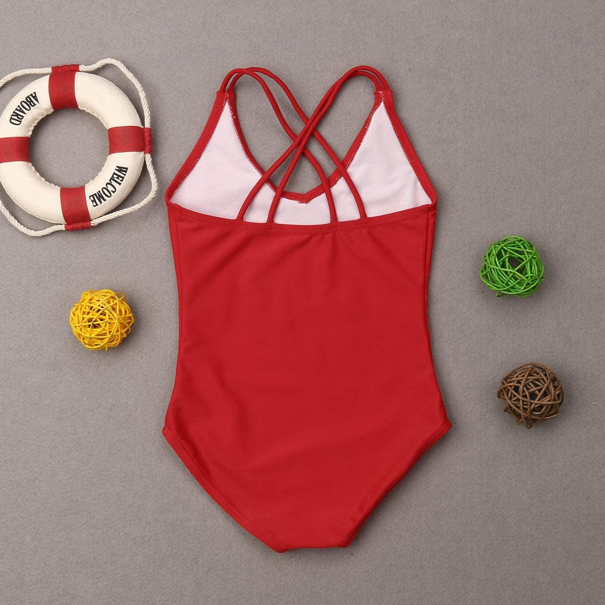 Mommy and Me Swimsuit Family Matching Baby Girls Women Letter Print One Piece Swimwear Bathing Suit Red, Daughter 2-3T