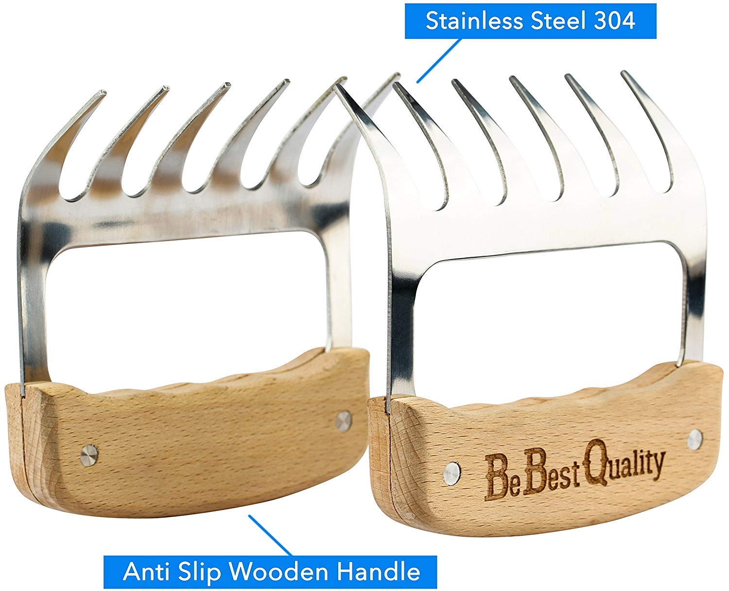 Smoker BPA-Free Metal Forks and Wooden No-Slip Grips for Grill MCBInfinity Meat Claws Stainless Steel Shredders Crockpot Turkey Carve BBQ Pulled Pork 2 Bear Claws Pull Handle Brisket