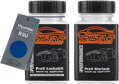 Tristarcolor Autolack Lackstift Set Für Hyundai R3u Ara Blue Metallic Basislack Klarlack Je 50ml Auto