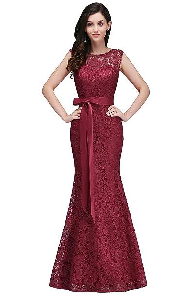 Babyonlinedress Largo vestido burdeos para dama de honor vestido de encaje de fiesta de bodas estilo