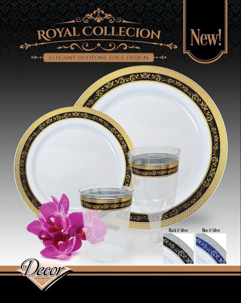 DECORLINE Royal Collection einweggeschirr Stabile Luxe Kunststoff Einwegteller Teller 19cm Schwarz mit Gold