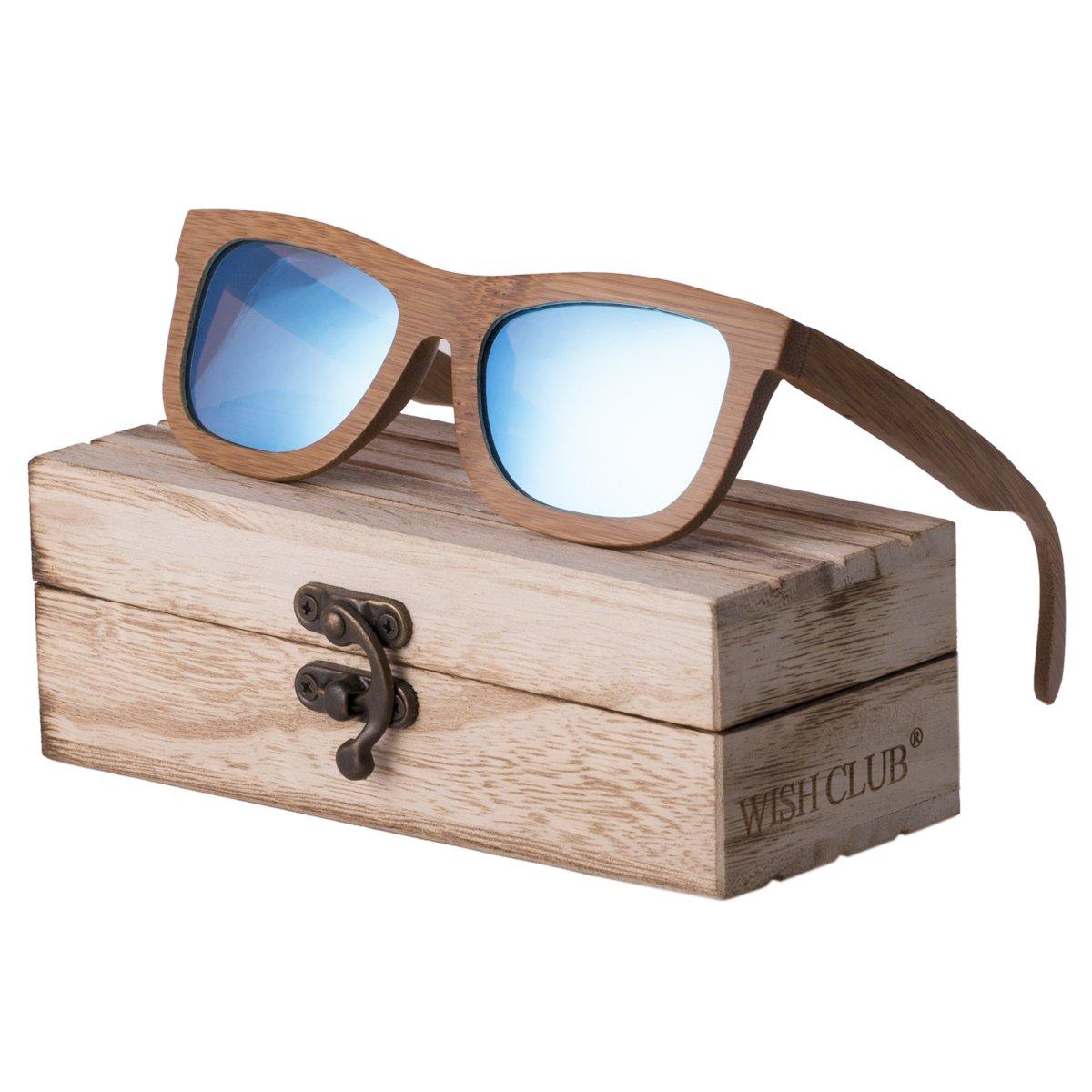 WISH CLUB Bamboo Wood Frame Lightweight Sunglasses Polarized UV 400 Retro Floating Square Mirrored Lenses Fashion Glasses (Blue)