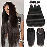CYNOSURE Straight Brazilian Hair 3 Bundles Grade 8a Unprocessed Straight Human Hair Extensions Natural Black