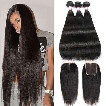 CYNOSURE Brazilian Virgin Hair Straight 3 Bundles with Closure 4x4 Middle  Part Human Hair