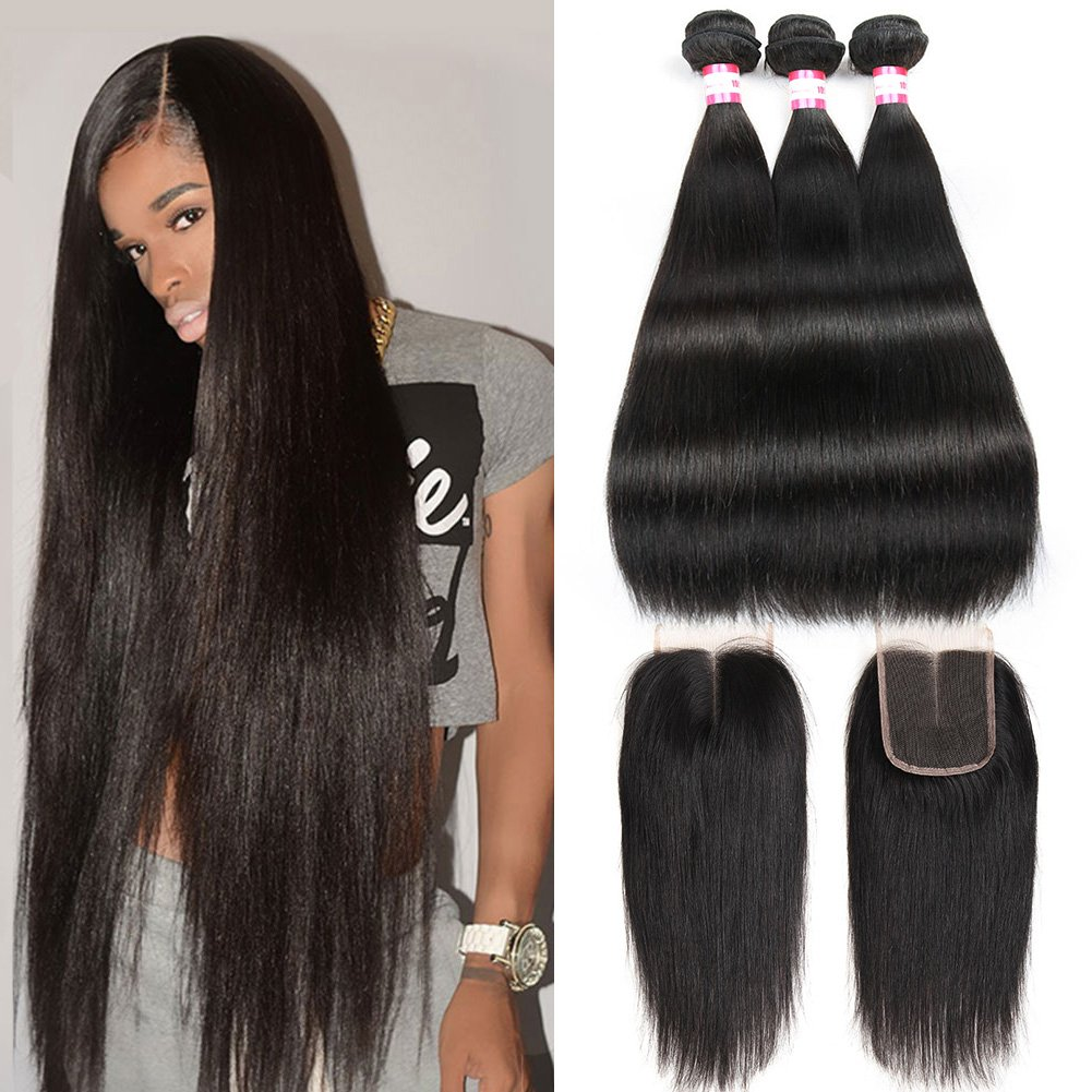 CYNOSURE Brazilian Virgin Hair Straight with Closure 4x4 Middle Part Brazilian Straight Human Hair Bundles with Closure Natural Black (20 22 24+18 inch closure)