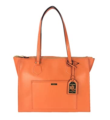 63d25093183e Lauren by Ralph Lauren Lowell Saffiano Leather Satchel, Kumquat Orange:  Handbags: Amazon.com