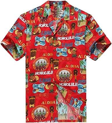 Hecho en Hawai de los Hombres Camisa Hawaiana Camisa de la Hawaiana Peces de Tiki del Ukulele de Las Muchachas de Hula en Rojo: Amazon.es: Ropa y accesorios
