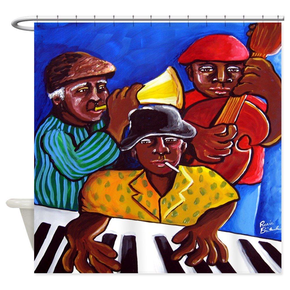 Amazon.com: CafePress - Funky Jazz Trio African American Shower ...