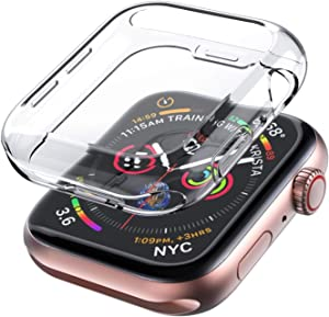 Case Compatible for Apple Watch Series 6 SE 5 4 40mm Bumper Fall Protection Ultra-Thin Protective TPU Flexible Shock Proof Resist Cover for iWatch 40mm-Clear