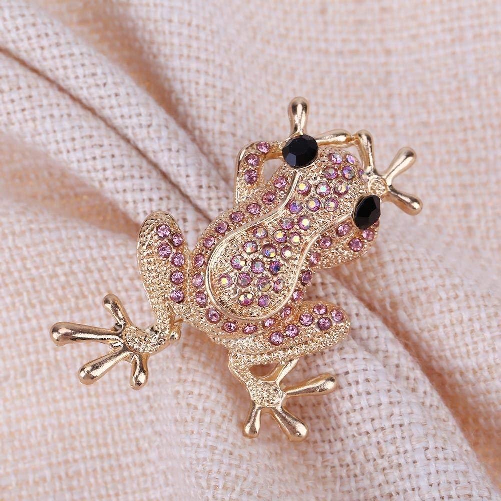 Ogquaton Mujeres Ni/ños Aleaci/ón Brillante Rhinestones Rana Animal Broche Collar Pin//Oro Elegante y Popular