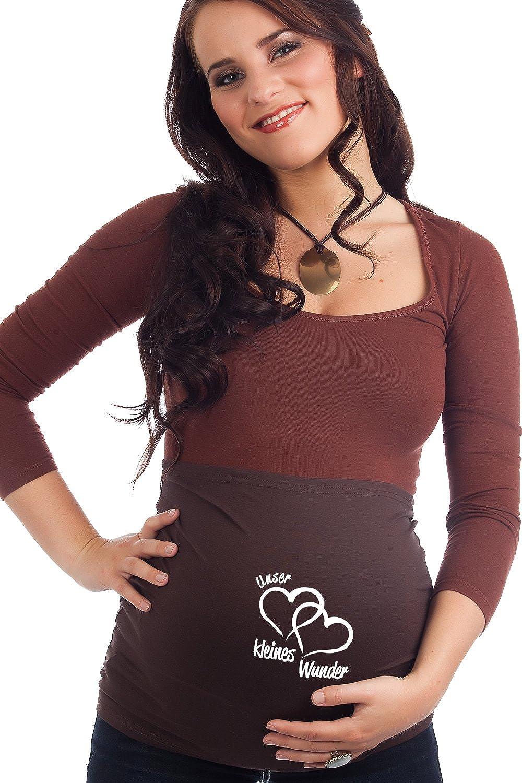 R/ückenw/ärmer und Shirtverl/ängerung f/ür Schwangere Mamaband Schwangerschaft Bauchband Unser kleines Wunder f/ür die Babykugel Elastische Umstandsmode