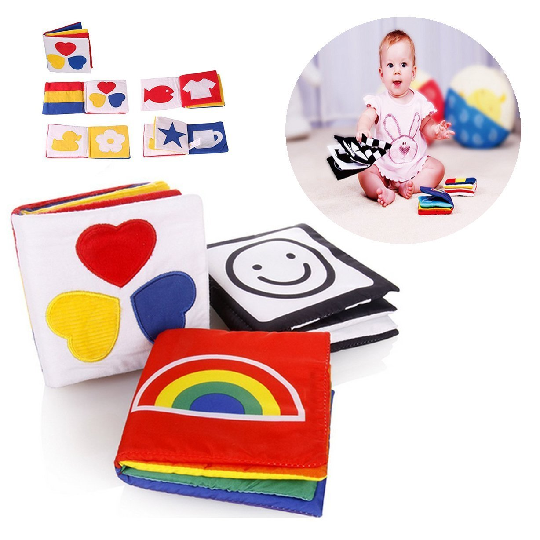 Weiche Gewebe-Buch Baby-Fr/ühe Bildung und Entwicklung Spielzeug Satz von 3 Kleine Baby-Tuch-Buch Gearmax