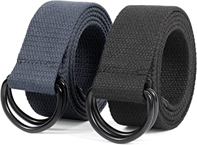 Solid Color Unisex Canvas Fabric Belt Webbing Casual D Ring Plain Waistband