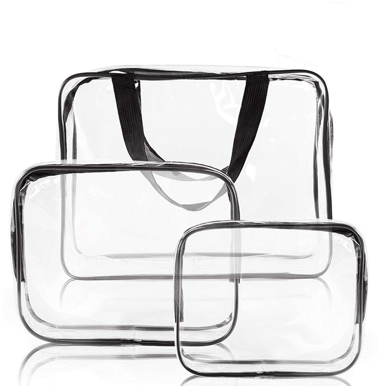 3 en 1 Sacs de maquillage et étuis Sac en plastique Transparent Sac de voyage en PVC Brosses Organisateur pour hommes et femmes Voyage d'affaires Salle de bains