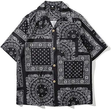 Camisa Estampada de Planta de Manga Corta para Hombre Hawaii ...