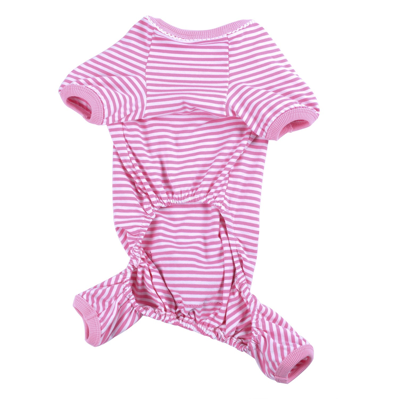Woo Woo Pets Cute Animal Dog Cozy Pajams Dog Stripes Jumpsuit Pet Dog Clothes Pink XS by Woo Woo Pets (Image #2)