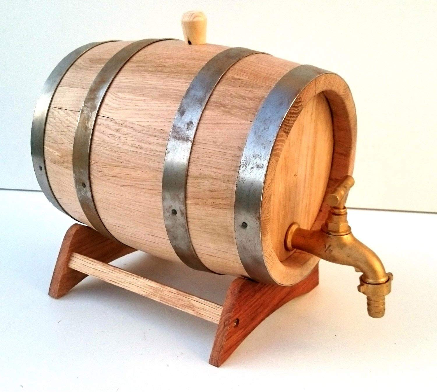 5 L Wooden Barrel Oak Wood Cask with metal tap, for aging spirits nattoyz