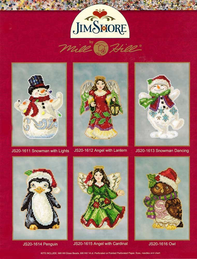 Mill Hill Jim Shore Beads Cross Stitch Kits Set of 6 ~ CHRISTMAS #20161 by Mill Hill