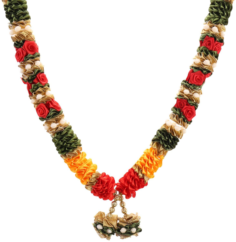 Decoration Craft Satin Garland (13 Inch + Ribbon, Green, Orange & Red)