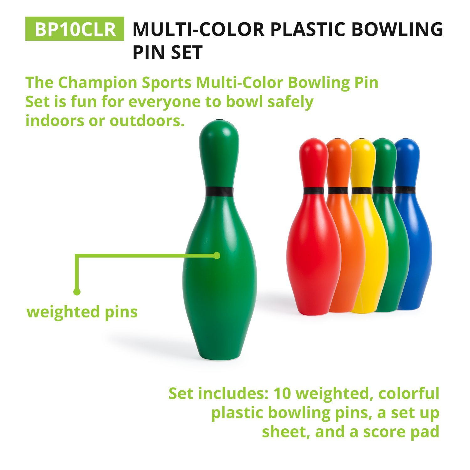 amazon com multi color plastic bowling pin set champion kids