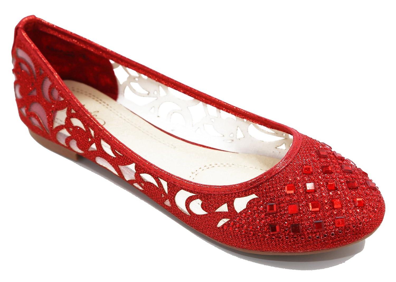 Walstar Women Rhinestone Flats Shoes Glitter Mesh Ballet Flats Slip on Flat Shoes B010TZJ89E 8 B(M) US|Red
