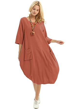 03431a55cd0 Anysize Soft Linen Cotton Lantern Loose Dress Spring Summer Fall Plus Size  Clothing Y19 Brownish Red
