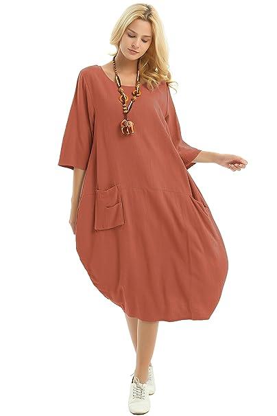 Anysize Soft Linen Cotton Lantern Loose Dress Spring Summer Fall Plus Size  Clothing Y19