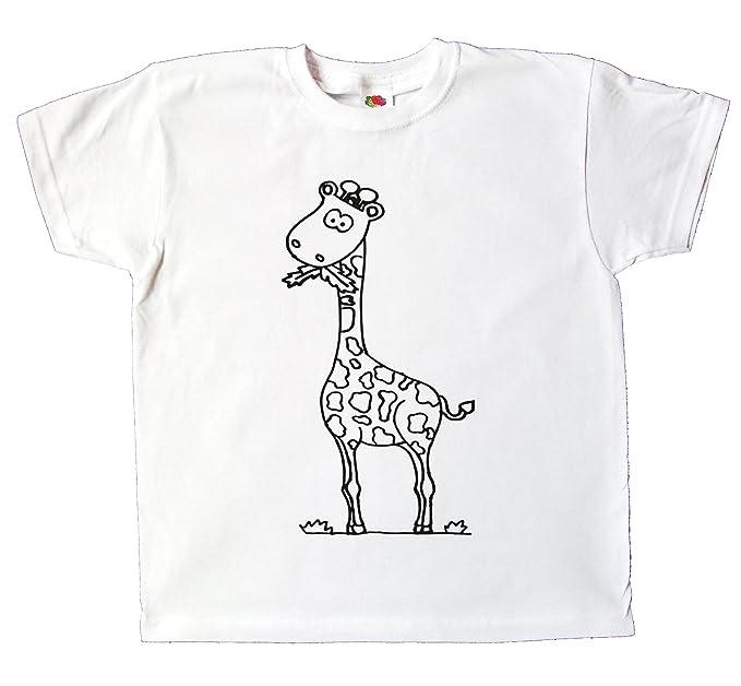 5219031c91899 Kinder T-Shirt Giraffe Zum bemalen und ausmalen mit Vordruck Spiel Zum  Kindergeburtstag Kindergarten für