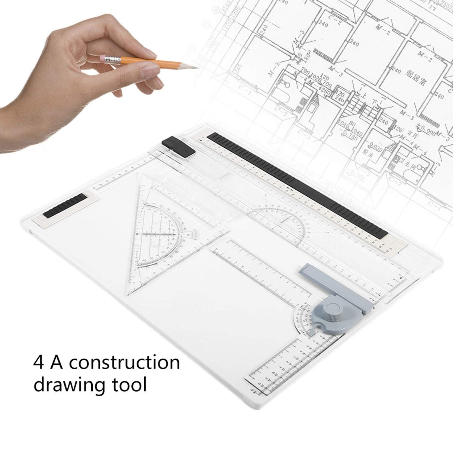 3830cm A4 Drawing Board Office Graphic Design Work Drafting with Straightedge