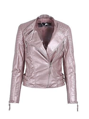 Simplee Apparel Women 's faux chaqueta de cuero de la PU de punk rock, otoño de manga larga con crem...