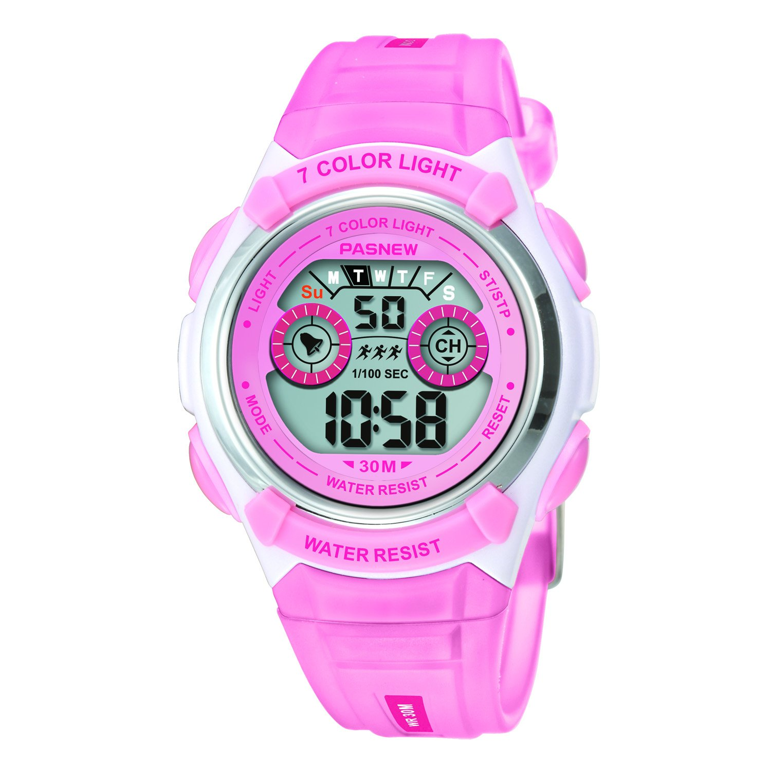 Digital Multi Function Sports Water Resistant 7-Colors Backlight Wrist Watches Children Boys Girls (Pink)