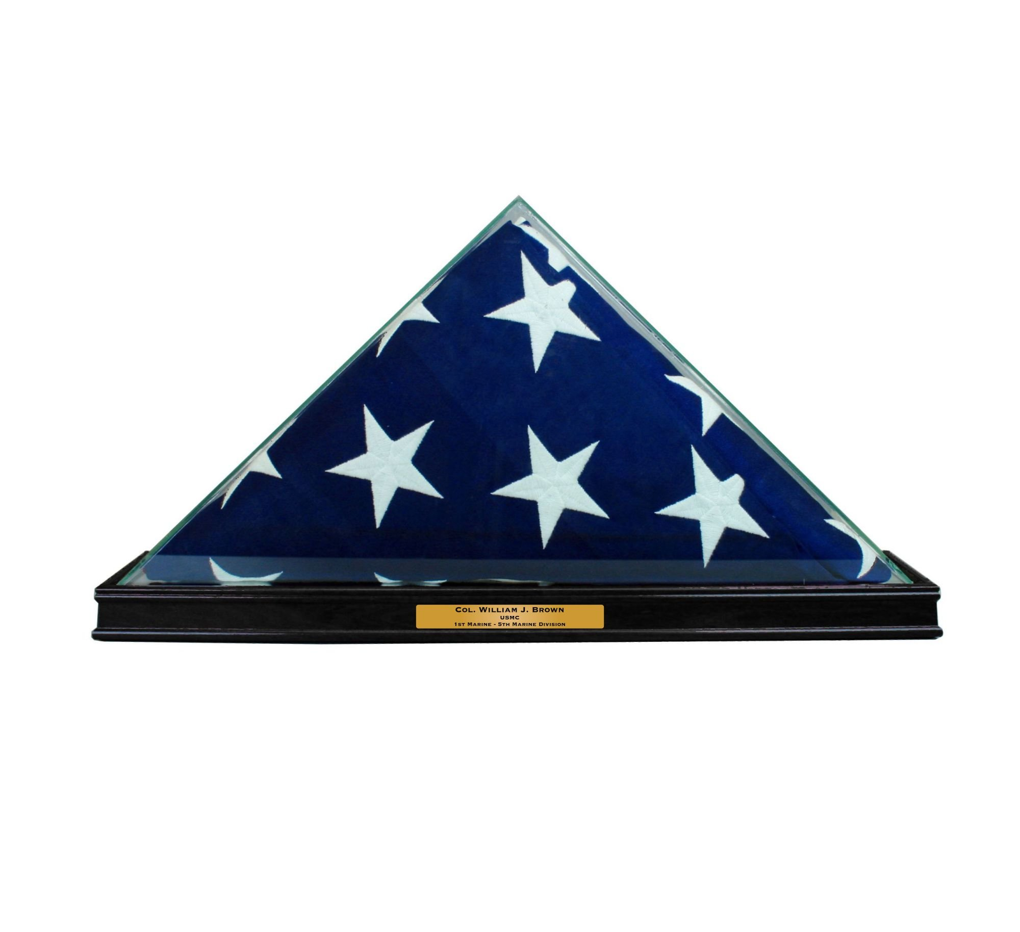 Perfect Cases All Glass Flag Display Case for 9.5' X 5' Flag with Engraving (Black) by Perfect Cases