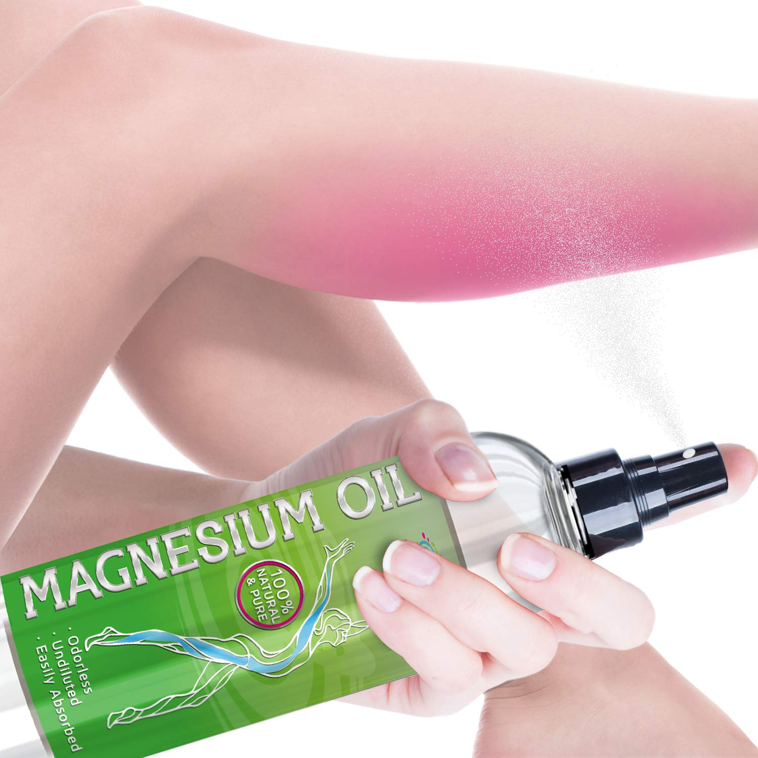 Pure Magnesium Oil Spray - Maximum Strength & Purity So It Works Faster, Lasts Longer & Won't Irritate - Sourced from Ancient USA Minerals Well - for Sleep Anxiety Migraine Muscle Pain Restless Legs by Pure Vitality Minerals